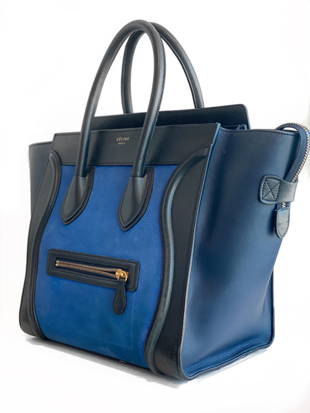 Celine Luggage Tote Mini Black and Blue Side of Bag