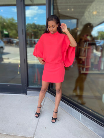 Gucci Cape Sleeve Dress Coral on Model