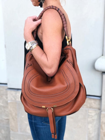 Chloe Large Marcie Hobo Tan Leather