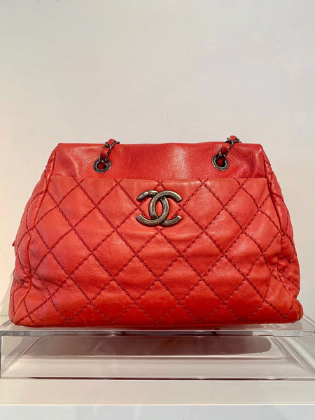 Chanel Quilted Bowler Bag Red Front of Bag