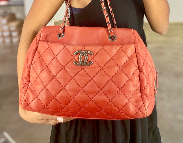 Chanel Quilted Bowler Bag on Model