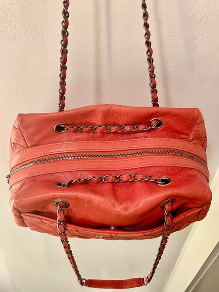 Chanel Quilted Bowler Bag Red Top of Bag
