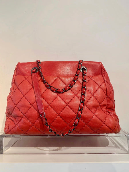 Chanel Quilted Bowler Bag Red Back of Bag