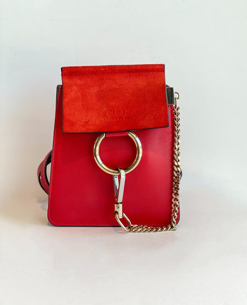 Chloe Mini Faye Bracelet Bag Red Front of Bag