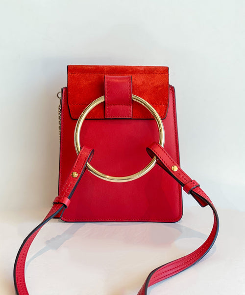 Chloe Mini Faye Bracelet Bag Red Back of Bag