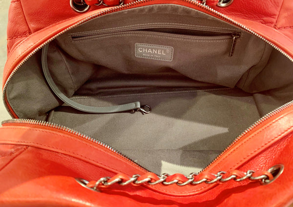 Chanel Quilted Bowler Bag Red Inside of Bag Featuring Zipper Closure and Zipper Pocket