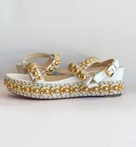 Christian Louboutin Studded Wedge Sandals White and Gold Side of Shoes