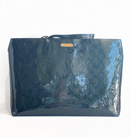 Louis Vuitton Wilshire Monogram Vernis GM Patent Leather Tote Navy Front of Bag