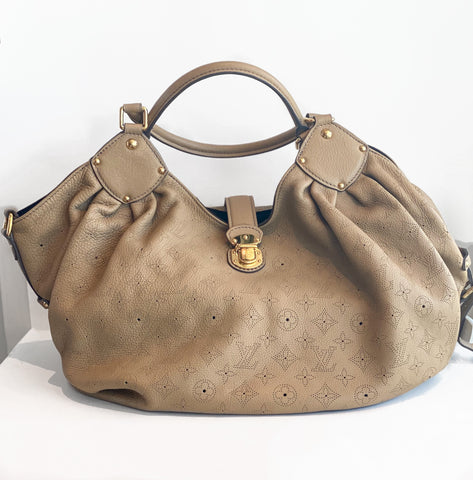 Louis Vuitton Mahina Hobo Bag Monogram Tan Leather Front of Bag