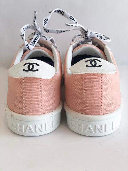 SOLD Chanel Weekender Canvas Lace Up Sneakers