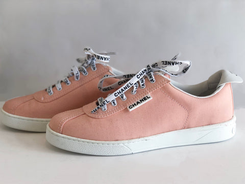 Chanel Weekender Canvas Lace Up Sneakers