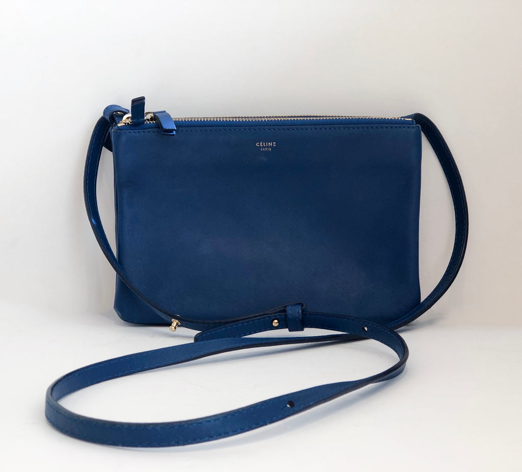 Celine Small Trio Crossbody Blue Front of Bag