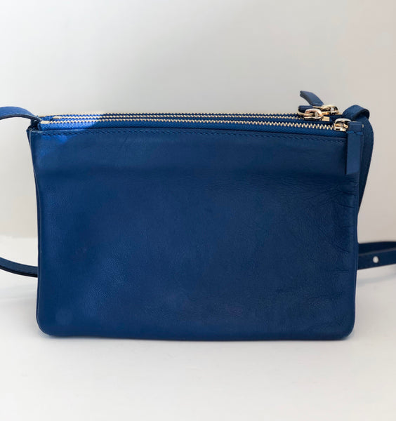 Celine Small Trio Crossbody Blue Back of Bag
