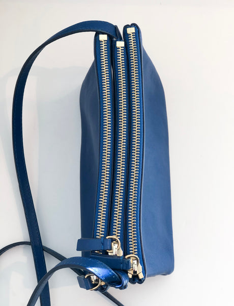 Celine Small Trio Crossbody Blue Top of Bag Three Zipper Closures