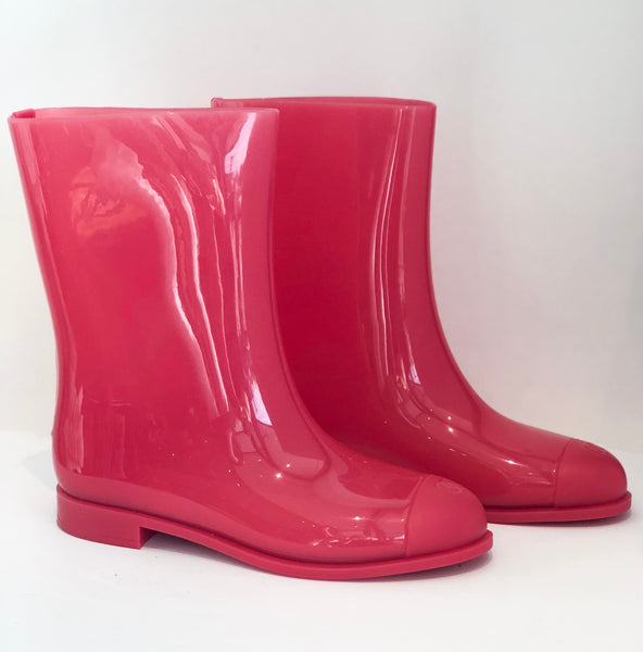 Chanel Pink Rain Boots