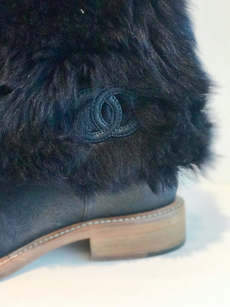 Chanel Fur Boots Navy Featuring Interlocking CC Logo