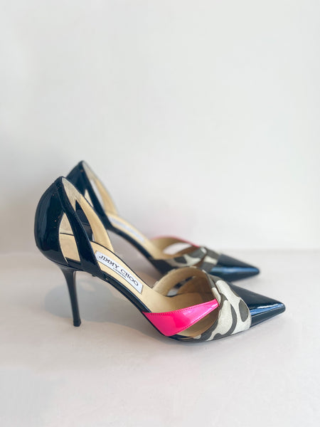 Jimmy Choo Patent Leather Animal Print Pink Pumps Side of Shoes