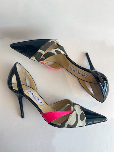 Jimmy Choo Patent Leather Animal Print Pink Pumps