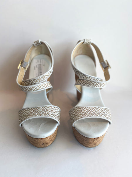 Jimmy Choo Printed Wedges Embroidered Tan White Cork Front of Shoes