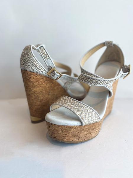 Jimmy Choo Printed Wedges Embroidered Tan White Cork