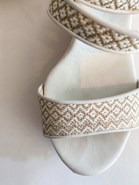 Jimmy Choo Printed Wedges Embroidered Tan White Cork Details