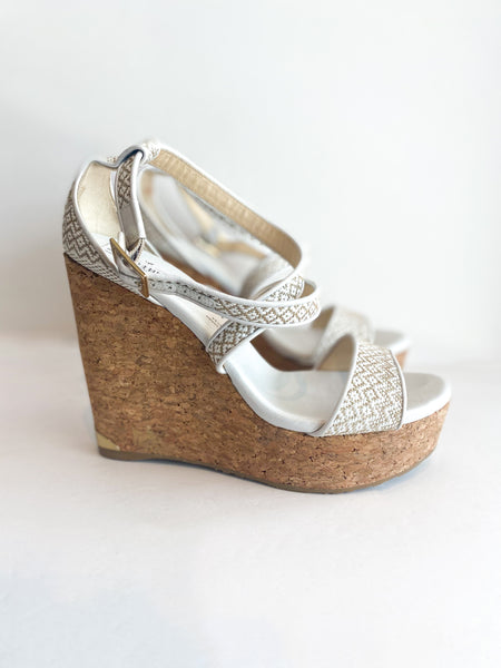 Jimmy Choo Printed Wedges Embroidered Tan White Cork Side of Shoes