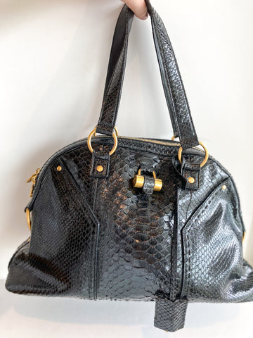 Saint Laurent Muse Bag Black Crocodile Leather