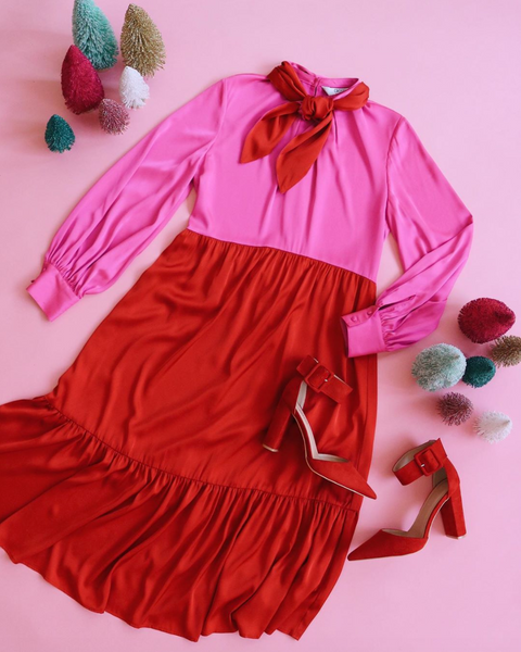 Crosby by Mollie Burch Red and Pink Betsy Dress