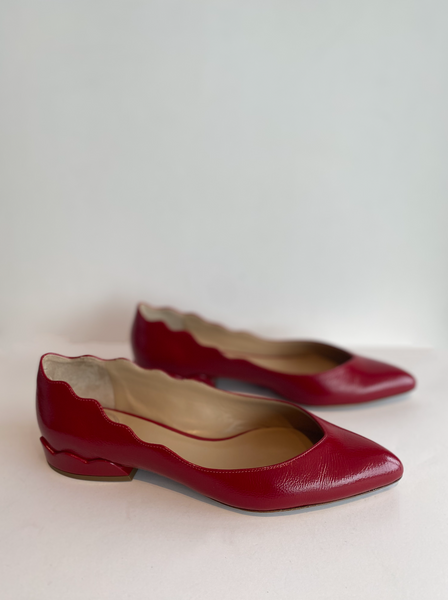 Chloe Scalloped Ballet Flats Red Patent Side