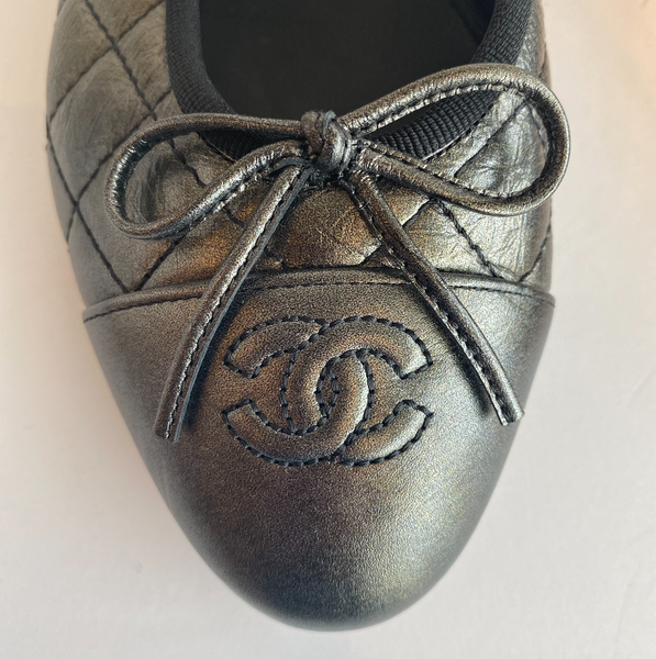 Chanel Quilted Ballet Flat in Gunmetal Logo and Bow Detail Round Toe