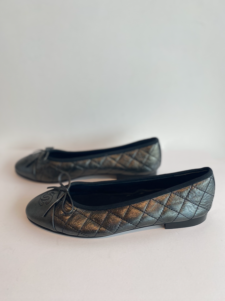Chanel Quilted Ballet Flat in Gunmetal Side