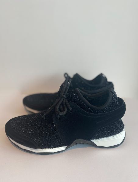 Chanel Sneakers Black Velvet Stretch