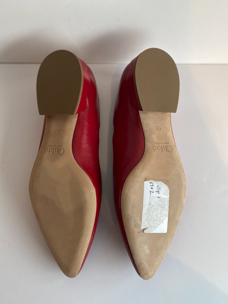 Chloe Scalloped Ballet Flats Red Patent Bottom