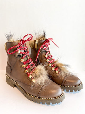 Cecelia Fur Trekker Boot Brown Red