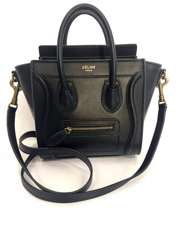 Celine Nano Luggage Tote Black