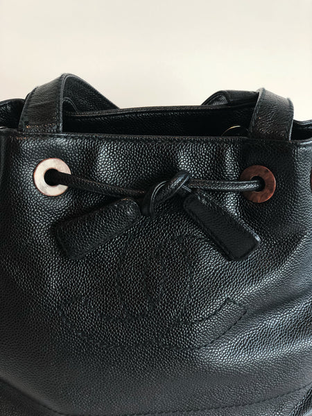 Chanel Caviar Leather Bucket Bag Black Interlock CC Logo