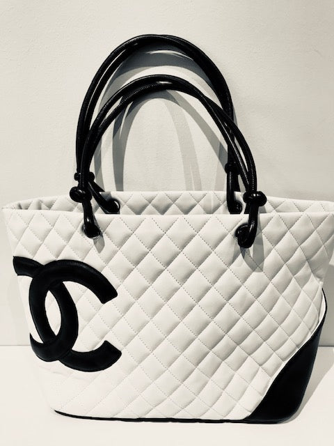Chanel Ligne Cambon Tote White Black