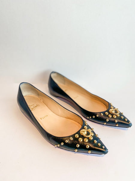 Christian Louboutin Studded Ballet Flats Black Leather Gold