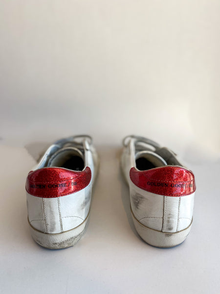 Golden Goose Old School Glitter Red Velcro