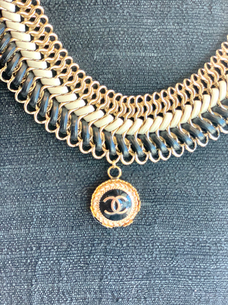 goldsilverchanelbuttonnecklace