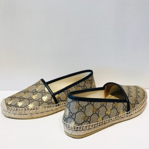 SOLD Gucci Flat Pilar GG Espadrille With Bees