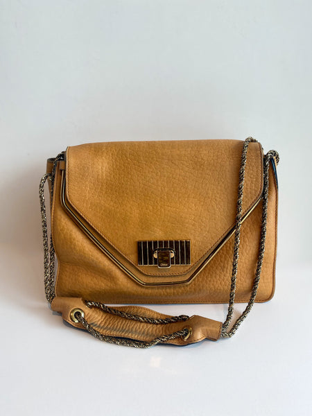 Chloe Sally Bag Flap Handbag Tan Leather