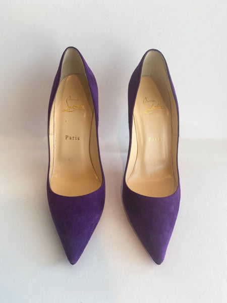 Christian Louboutin So Kate Suede Heels Violet Purple Front of Shoes