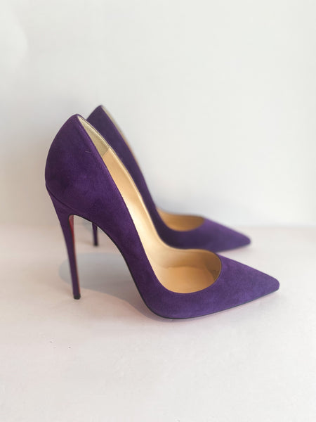 Christian Louboutin So Kate Suede Heels Violet Purple Side of Shoes