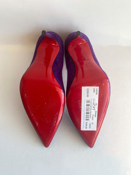 Christian Louboutin So Kate Suede Heels Violet Purple Bottom of Shoes