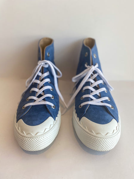 Chloe Suede High Top Sneaker Blue Front of Shoes