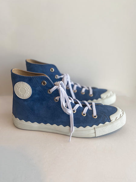 Chloe Suede High Top Sneaker Blue Side of Shoes