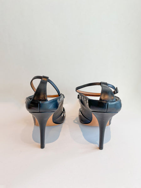 Givenchy Mary Jane Heels Black Leather Silver Circle Cutouts Back