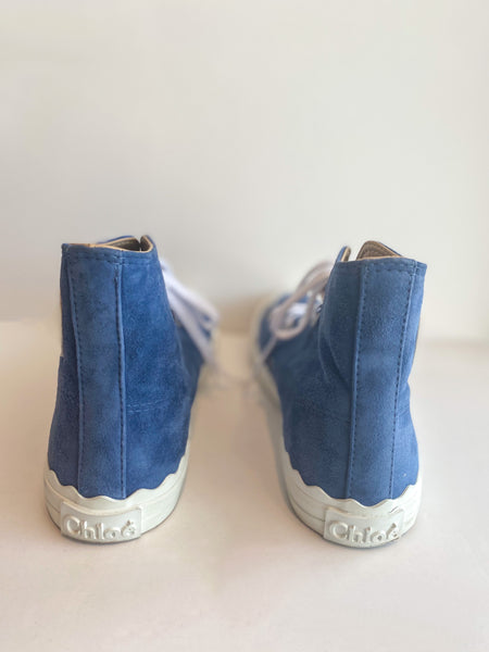 Chloe Suede High Top Sneaker Blue Back of Shoes
