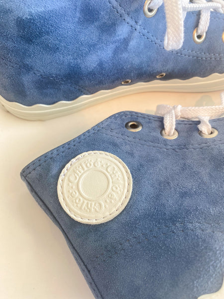 Chloe Suede High Top Sneaker Blue White Logo